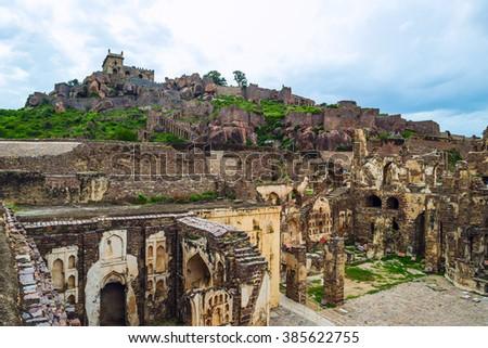 Ruins of the Golconda Fort, Hyderabad District, Telangana, India. - stock photo