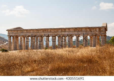 Ruins of the Greek temple in the ancient city of Segesta, Sicily, Italy - stock photo