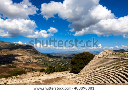 Ruins of the Greek Theater in Segesta, Sicily, Italy  - stock photo