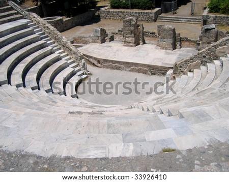 Ruins of the Greek Theater. Island of Kos, Greece - stock photo