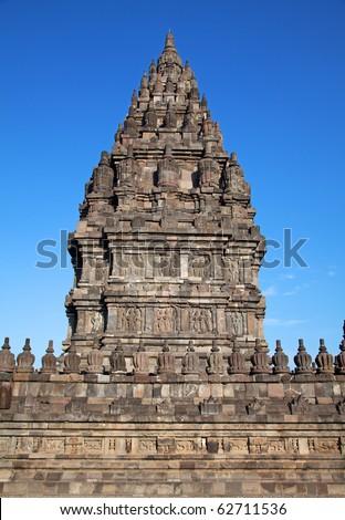 Ruins of the Hindu temple Prambanan. Indonesia, Java, Yogyakarta - stock photo