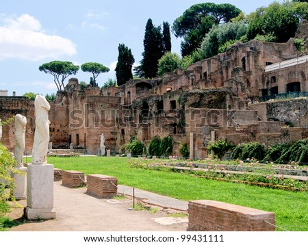 Ruins of the House of the Vestals in the Roman Forum - stock photo