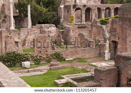 Ruins of the House of the Vestals in the Roman Forum. Rome, Italy