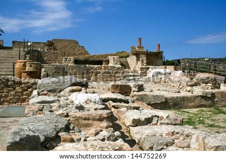 Ruins of the Knossos palace. Crete, Greece - stock photo