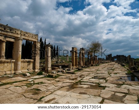 Ruins of the largest antique necropolis in city Hierapolis in terrain of Turkey - stock photo