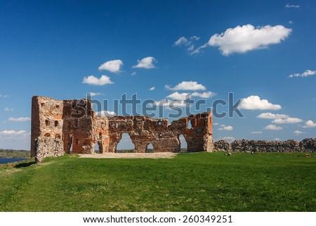 Ruins of the Ludza castle, Latvia - stock photo