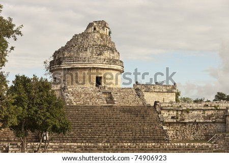ruins of  the Mayan  Astronomy observatory  in Chichen Itza, Yucatan - World seven wonders - stock photo