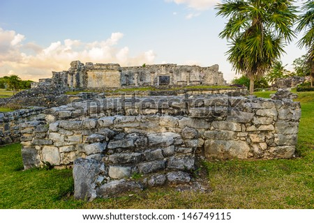 Ruins of the Mayan city Tulum on the Yutacan, Mexico - stock photo