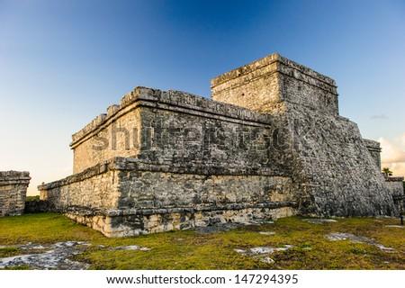 Ruins of the Mayan city Tulum, Yucatan, Mexico - stock photo