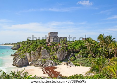 Ruins of the Mayan fortress and temple near Tulum, Mexico
