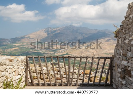 Ruins of the medieval castle built on top of the ancient city of Segesta, Sicily, Italy - stock photo