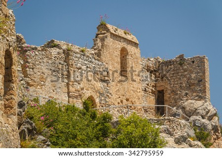 RUins of the medieval St. Hilarion castle, North Cyprus - stock photo