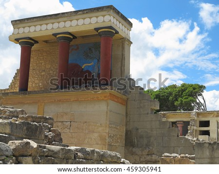 Ruins of the Minoan Palace of Knossos in Heraklion, Crete, Greece - stock photo