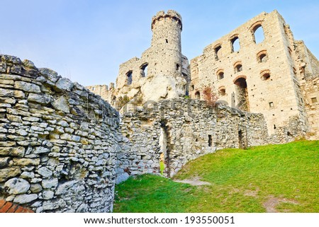 Ruins of The Ogrodzieniec Castle in Poland.  - stock photo