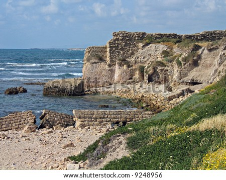 Ruins of the old city Caesarea in Israel