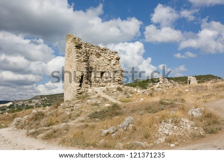 Ruins of the old fortress of Kalamita. Inkerman. Crimea, Ukraine