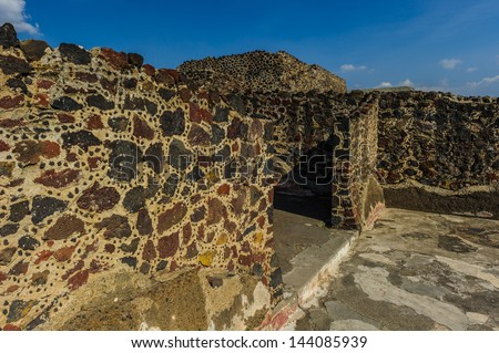 Ruins of the Pyramids of Pre-Columbian city Teotihuacan, Mexico - stock photo