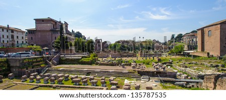 Ruins of the Roman Forum, ancient square in Rome, Italy