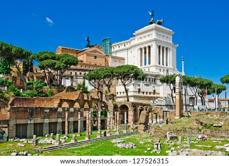 Ruins of the Roman Forum (Foro Romano) in Rome, Italy - stock photo