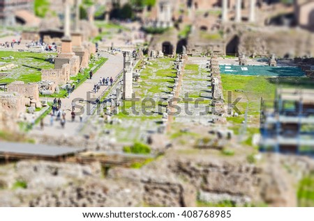 Ruins of the Roman Forum in Rome, Italy. Tilt-shift effect applied - stock photo