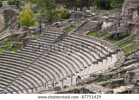 Ruins of the Roman theater in Lyon, France - stock photo