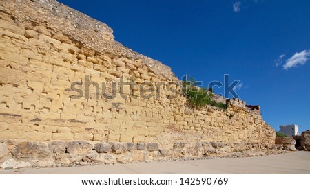 Ruins of the roman walls of Tarragona, Spain. - stock photo