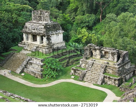 Ruins of the temple in Palenque - stock photo