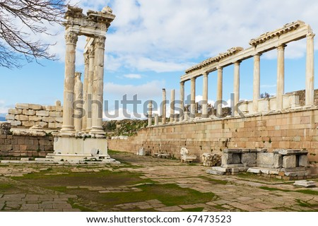 Ruins of the Temple of Trajan in the Ancient Greek City of Pergamom in Bergama, Turkey - stock photo