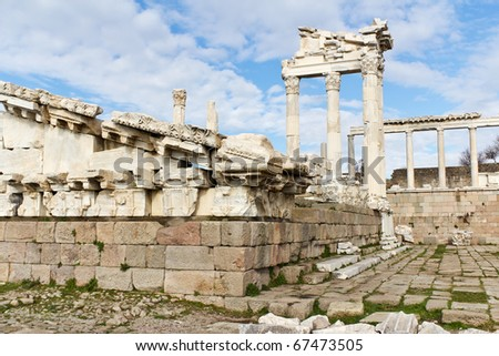 Ruins of the Temple of Trajan in the Ancient Greek City of Pergamon, a Popular Tourist Destination in Bergama, Turkey - stock photo