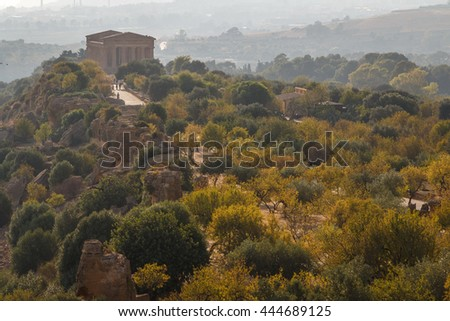 Ruins of the temples in the ancient city of Agrigento in the evening light, Sicily, Italy - stock photo