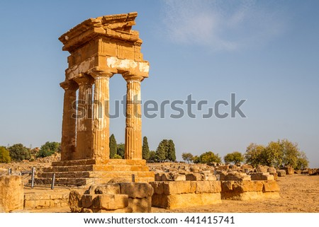 Ruins of the temples in the ancient city of Agrigento, Sicily, Italy - stock photo