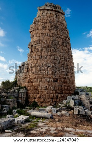 Ruins of tower at Perge Turkey - stock photo