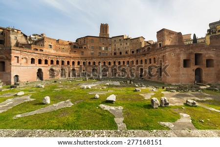 Ruins of Trajan's Forum (Forum Traiani) constructed by Apollodorus of Damascus in ancient Roman Empire, Rome, Italy - stock photo