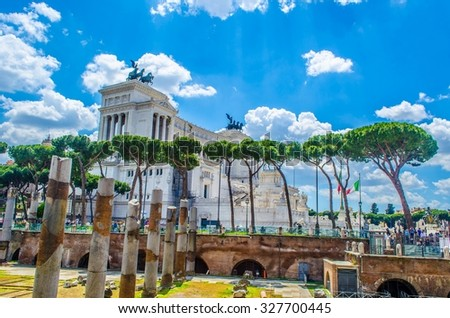 Ruins of Trajan's Forum in Rome, Italy provide magnificient view of vittoriano monument standing nearby. - stock photo