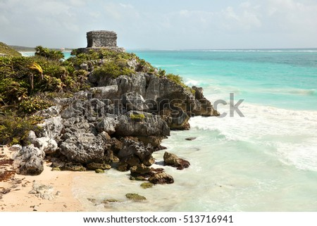 Ruins of Tulum along the beautiful caribbean coastline, the pre-Colombian Mayan walled city serving as a major port for Coba. Playa del Carmen,  Yucatan Peninsula, Mexico.