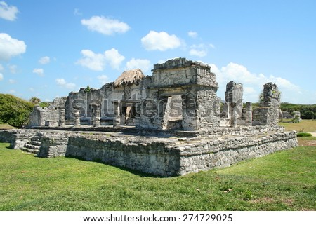 Ruins of Tulum near Playa del Carmen in Mexico. - stock photo