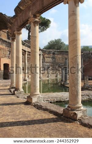Ruins of Villa Adriana near Rome, Italy - stock photo