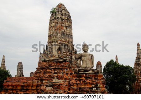 Ruins of Wat Chaiwatthanaram archaeological site at Ayutthaya, Thailand :This is public or treasure of Buddhism, no restrict in copy or use