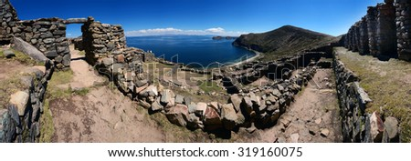 Ruins on Isla del Sol on famous Titicaca Lake, Bolivia, panorama image