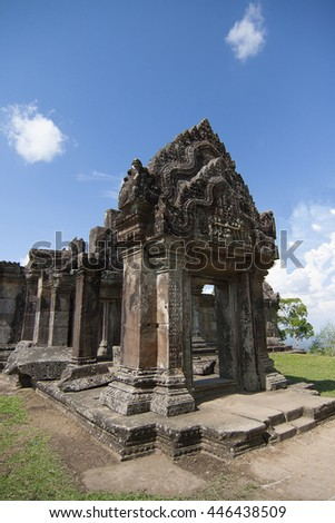 Ruins on Preah Vihear Temple in Cambodia