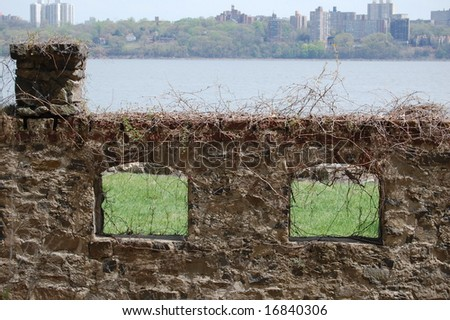ruins on the Hudson River NJ side - stock photo