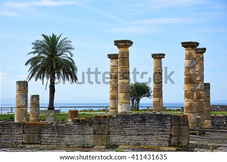"Ruins Roman of ""Baelo Claudia"" in Bolonia beach, Cadiz - stock photo"