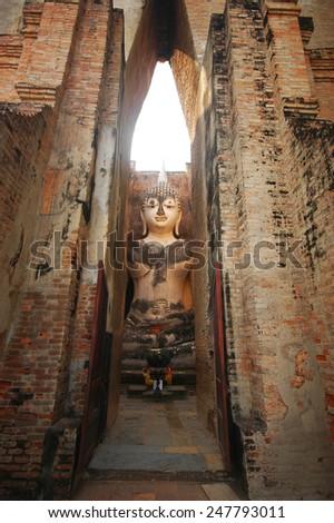 Ruins temple of Sukhothai historical park - stock photo