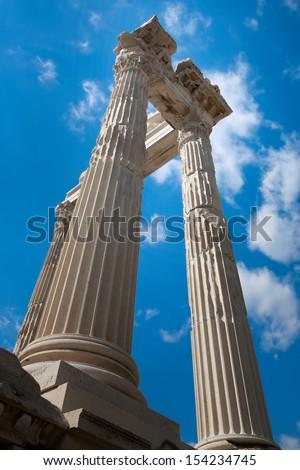 Ruins Temple of Trajan at Pergamon, Turkey - stock photo