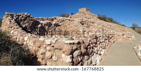 Ruins Tuzigoot National Monument in Arizona - stock photo