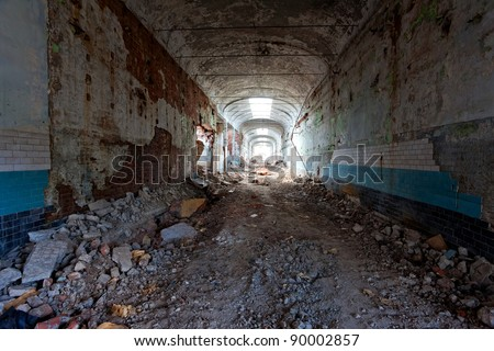 Ruins, view of an old abandoned factory building. - stock photo