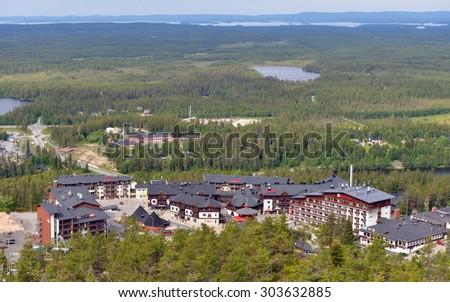 RUKA, FINLAND - JULY 8, 2015:Rukatunturi (Ruka) is 490 metres high fell and ski resort in Kuusamo. Ruka has turned into diverse tourist centre whose year-round usage is growing - stock photo