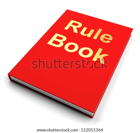 Rule Book Or Red Policy Guide Manual Shows Legal Advice, Contract Regulations Or Procedures To Follow For Standards