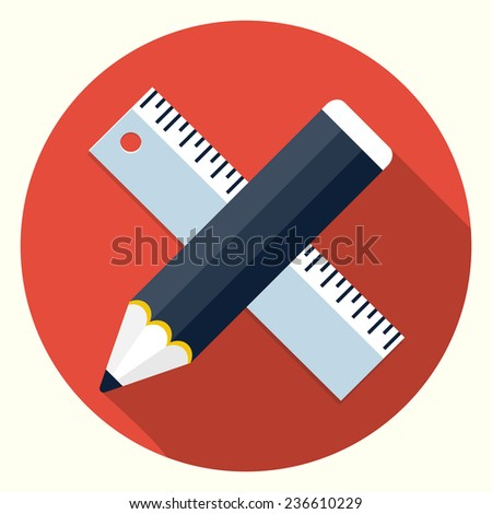 Ruler and pencil icon - stock photo