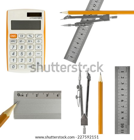 ruler,calculator and compass - stock photo